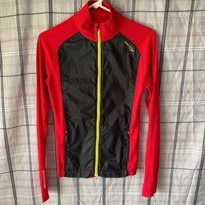 Saucony Red Mesh Black Nylon Running Zip Up Jacket